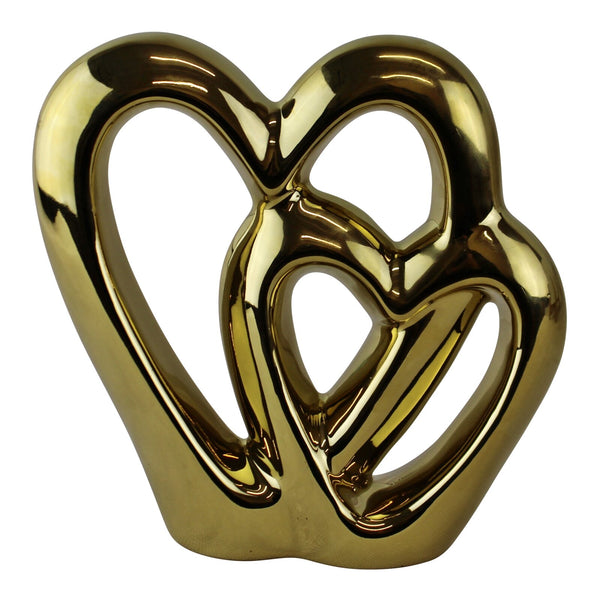 Gold Double Heart Ornament, 15cm.