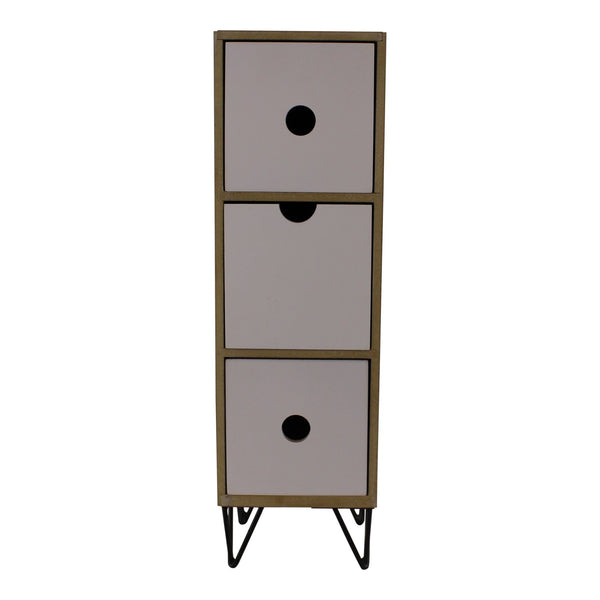3 Drawer Trinket Unit with Wire Legs, Vertical Style
