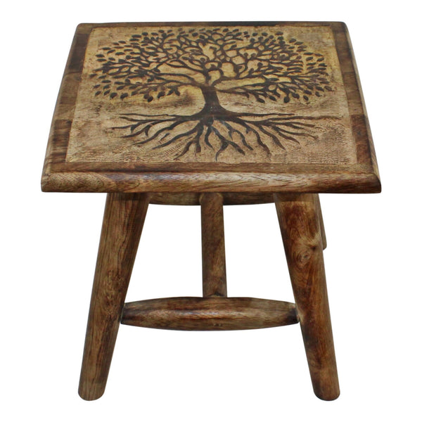 Tree of Life Hand Carved Stool, 25cm