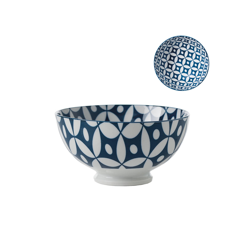Kiri Porcelain Bowl - Navy/White - Small