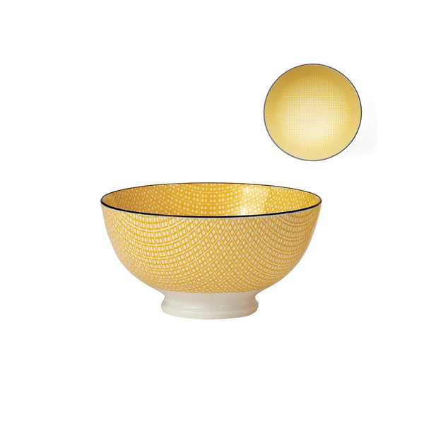 Kiri Porcelain Bowl - Yellow/Black - Medium