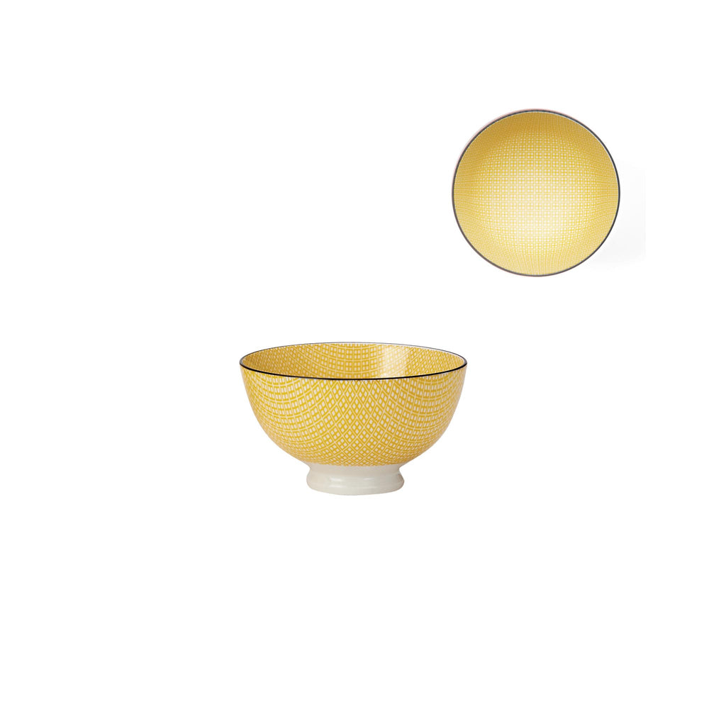 Kiri Porcelain Bowl - Yellow/Black - Small