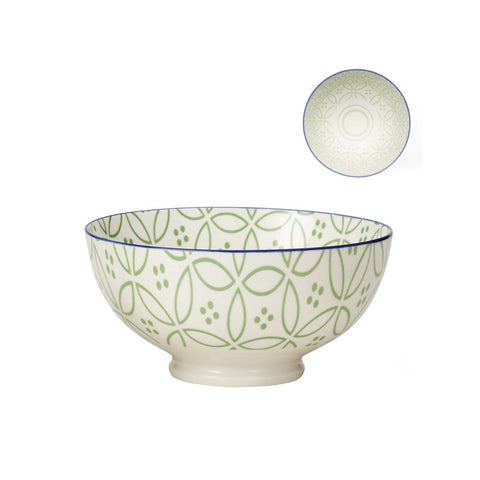 Kiri Porcelain Bowl - Green/Blue Trim