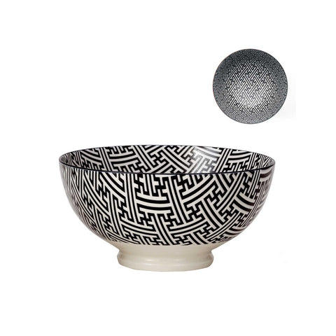 Kiri Porcelain Bowl - Black & White - Large