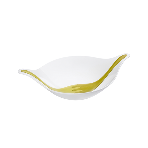 Leaf Salad Bowl - White/Green