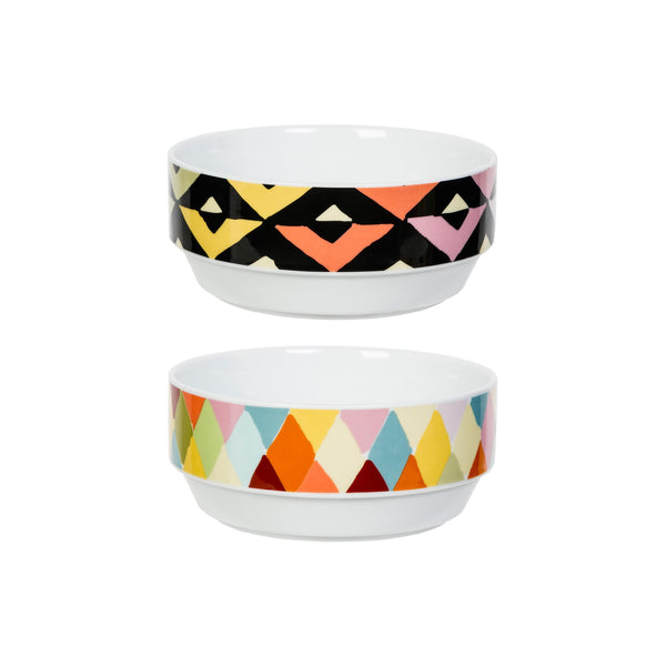 Viva Bowl Set of 2 - Chevron & Grade Diamond