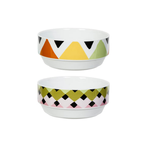 Viva Bowl Set of 2 - Overlap & Diamond Stripes