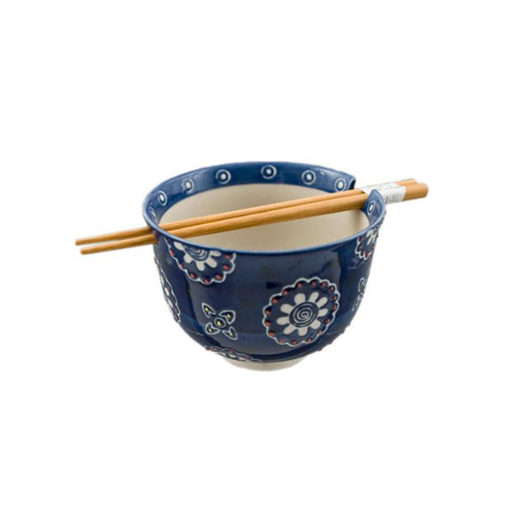 Flora Ceramic Bowl with Chopsticks