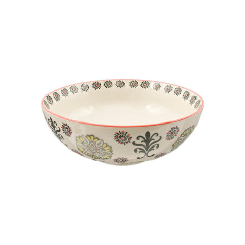 Handpainted Floral Ceramic Bowl - 10.25