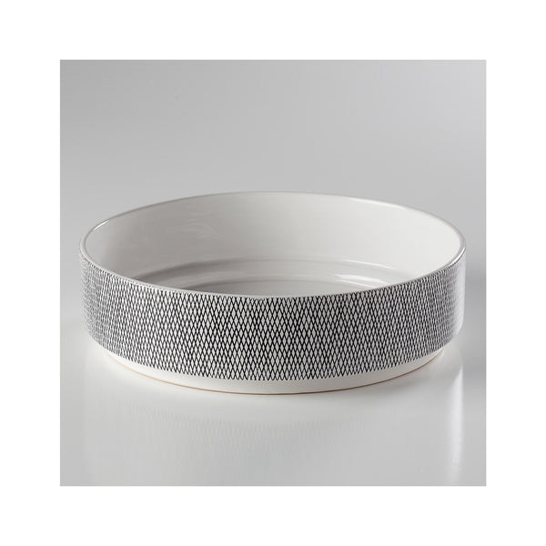 Bergen Weave Ceramic Serving Bowl - White
