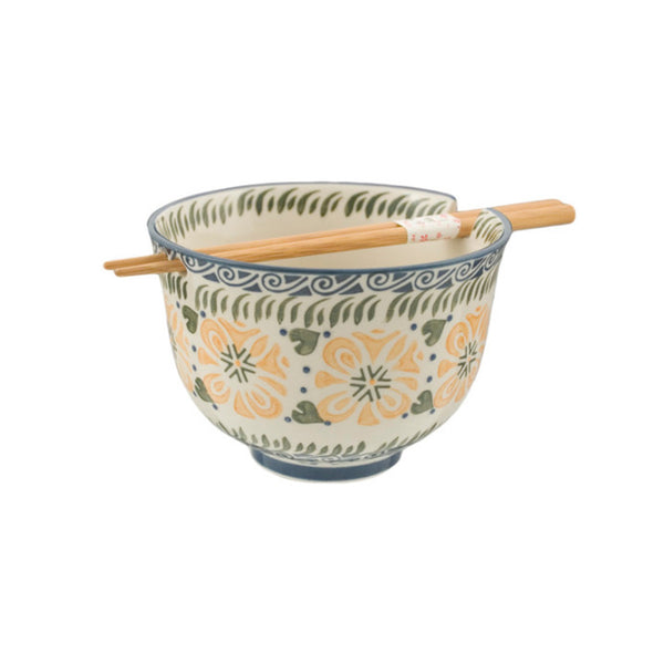 Graphic Ceramic Bowl with Chopsticks - Yellow Flowers