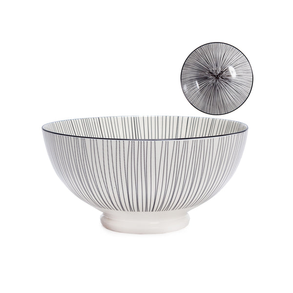 Kiri Porcelain Bowl - Black Line - Large