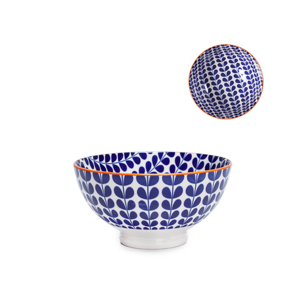 Kiri Porcelain Bowl - Blue Vine - Medium