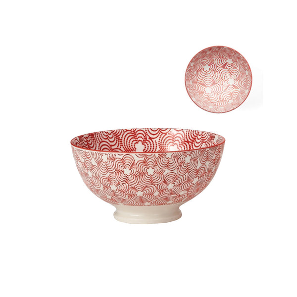 Kiri Porcelain Bowl- Red with Red Trim - Medium