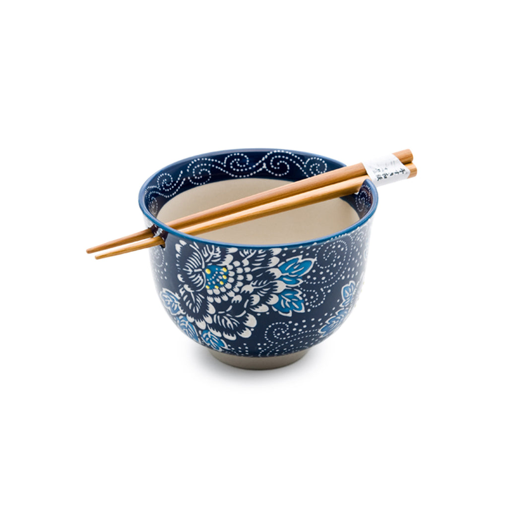 Graphic Ceramic Bowl with Chopsticks - Blue & White Floral