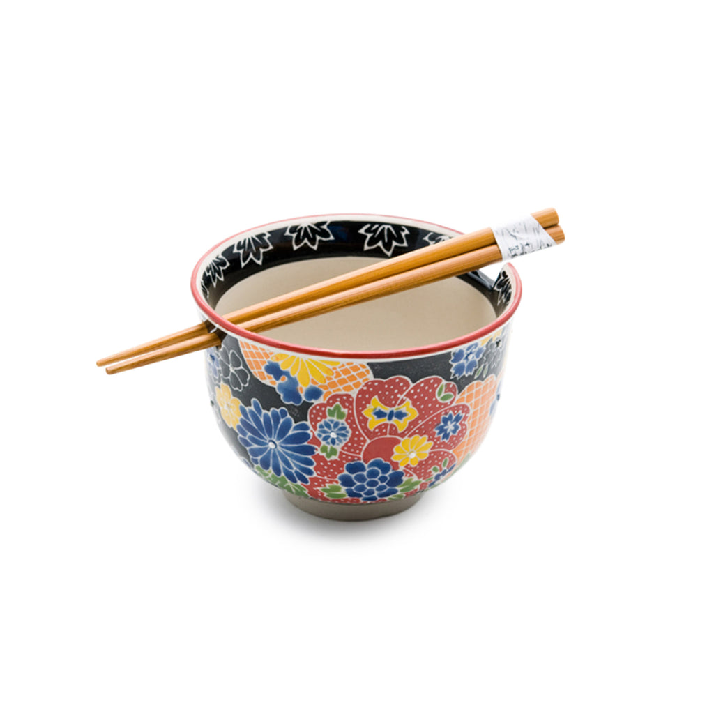 Graphic Ceramic Bowl with Chopsticks - Black with Multi Flowers