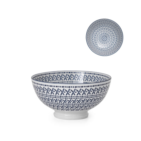 Kiri Porcelain Bowl - Blue Stitches - Medium