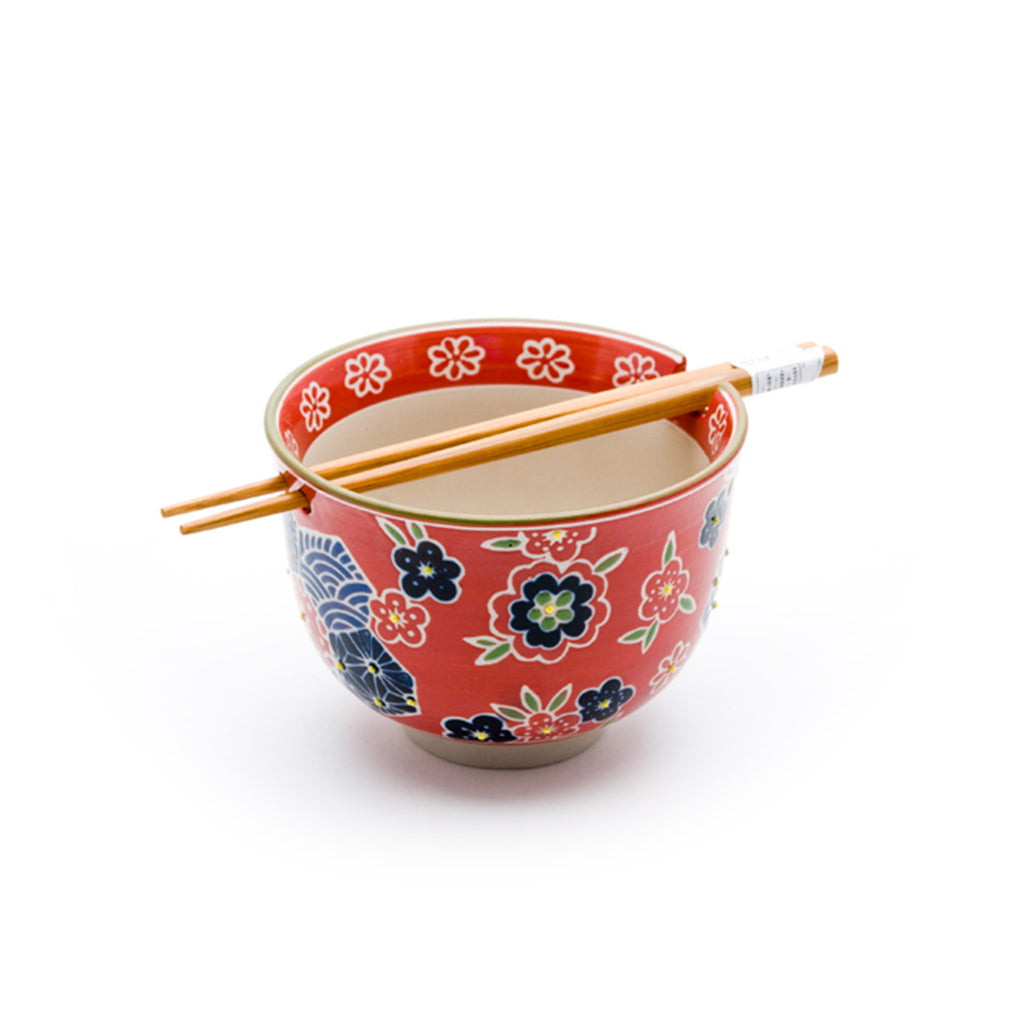 Graphic Ceramic Bowl with Chopsticks - Red with Multi Flowers