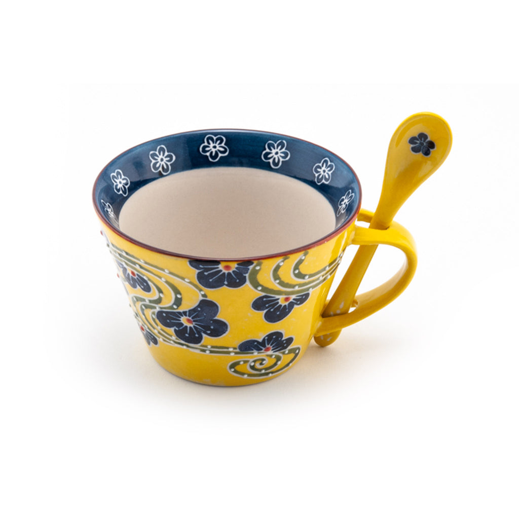 Graphic Ceramic Mug with Spoon Set - Yellow Floral