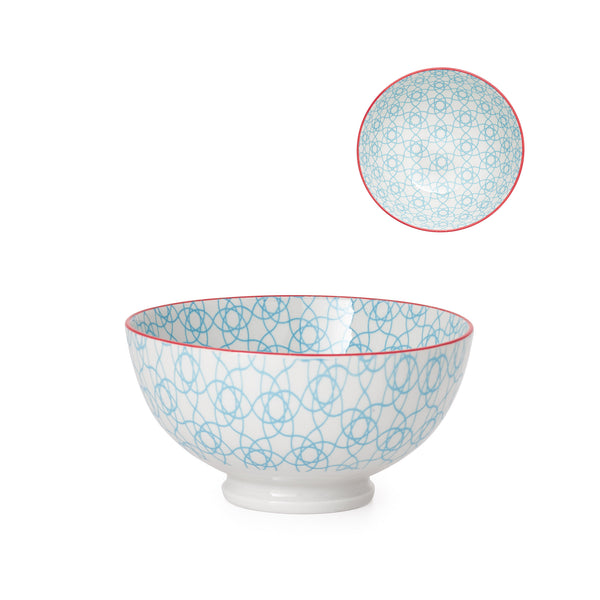 Kiri Porcelain Bowl - Cyan Spiro - Medium
