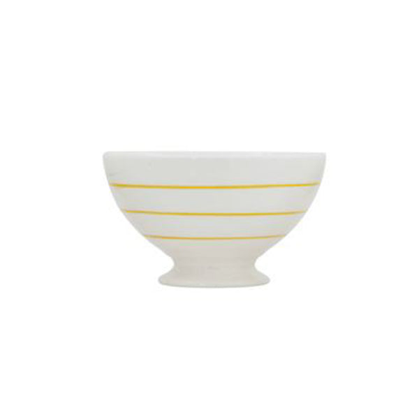 Striped Stoneware Bowl - Yellow