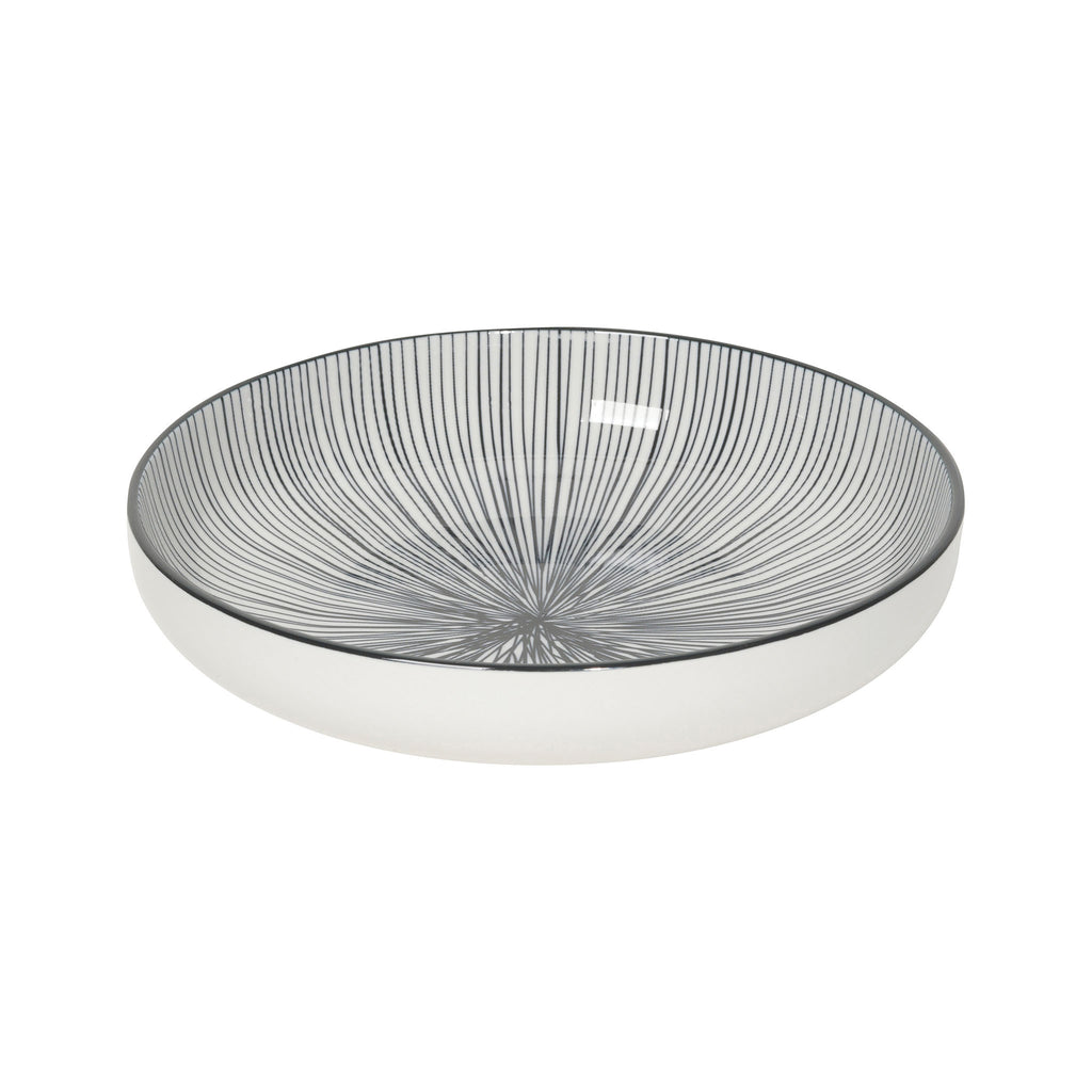 Stamped Shallow Bowl- Black Lines