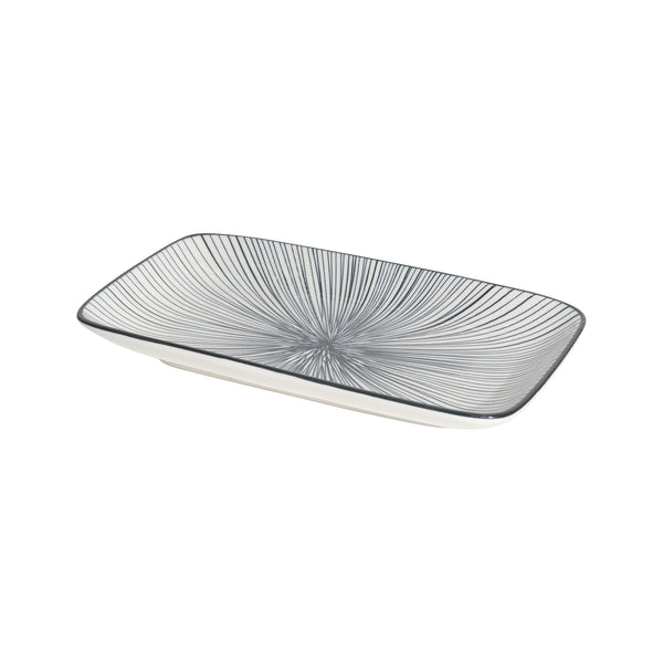 Stamped Tapas Plate - Black Lines