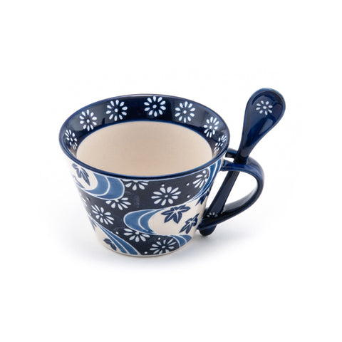 Graphic Ceramic Mug with Spoon Set - Blue & White Floral