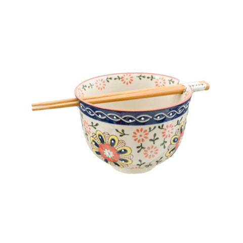 Graphic Ceramic Bowl with Chopsticks - White Floral with Blue Trim