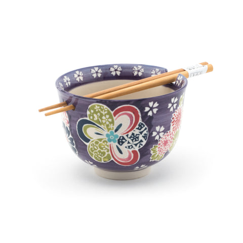 Graphic Ceramic Bowl with Chopsticks - Purple with Flowers