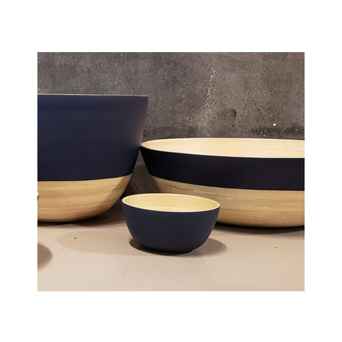Spun Bamboo Two-Tone Bowls - Dark Blue - Small