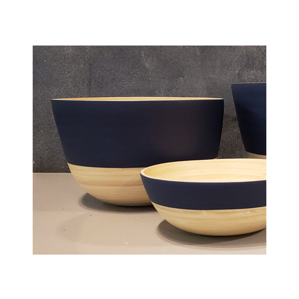 Spun Bamboo Two-Tone Bowls - Dark Blue - Large