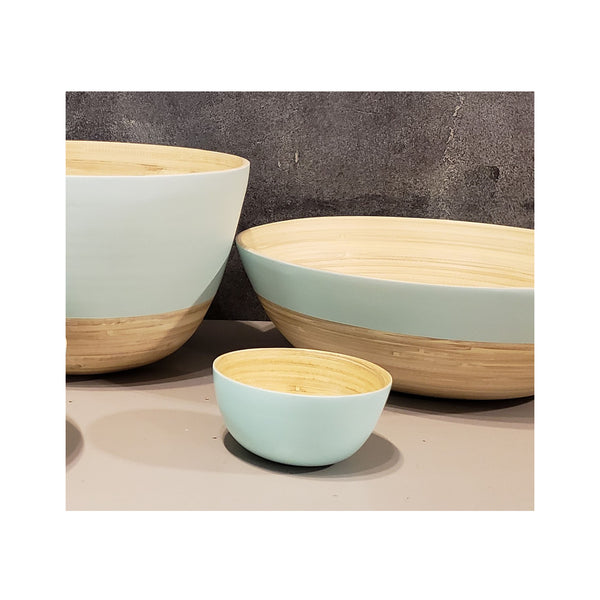 Spun Bamboo Two-Tone Bowls - Pastel Green - Small