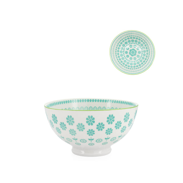 Kiri Porcelain Bowl - Turquoise Daisy - Medium