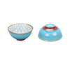 Casper Embossed Porcelain Bowl - Diamonds/Turquoise - interior/exterior
