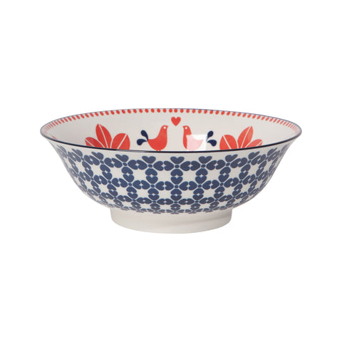 Stamped  Porcelain Bowl - Red Bird - Medium