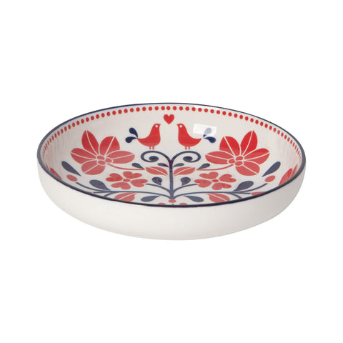 Stamped Porcelain Shallow Bowl - Red Bird