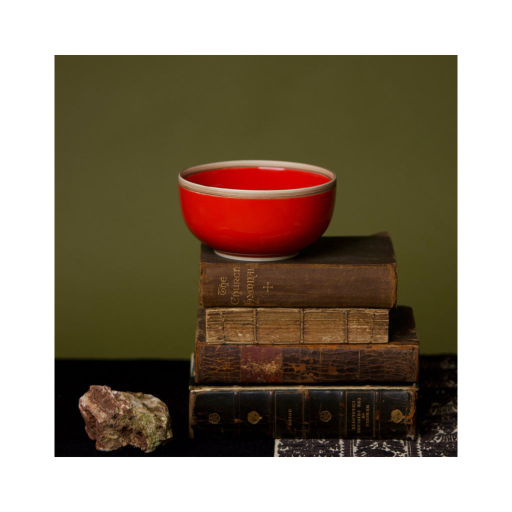 Rimmed Hermit Soup Bowl - Coral Red