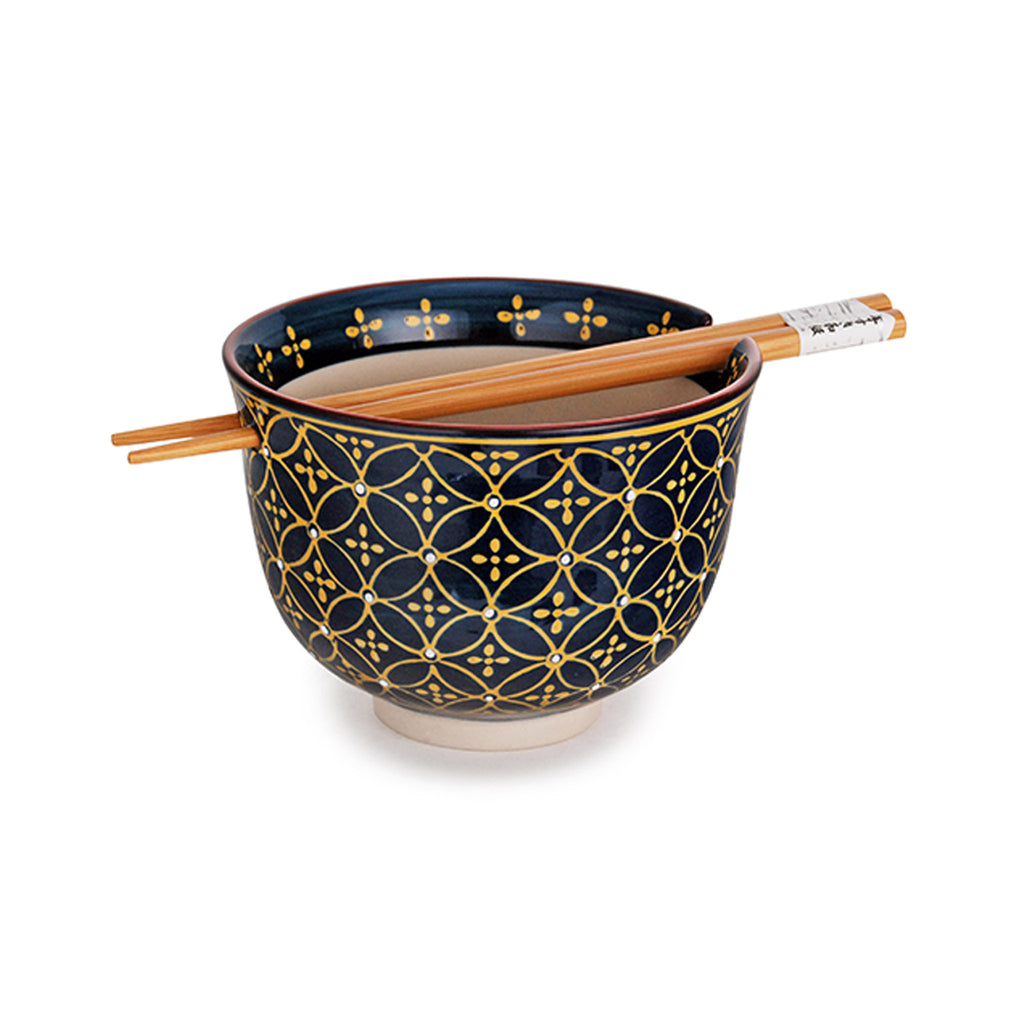 Graphic Ceramic Bowl with Chopsticks - Navy & Gold Geo