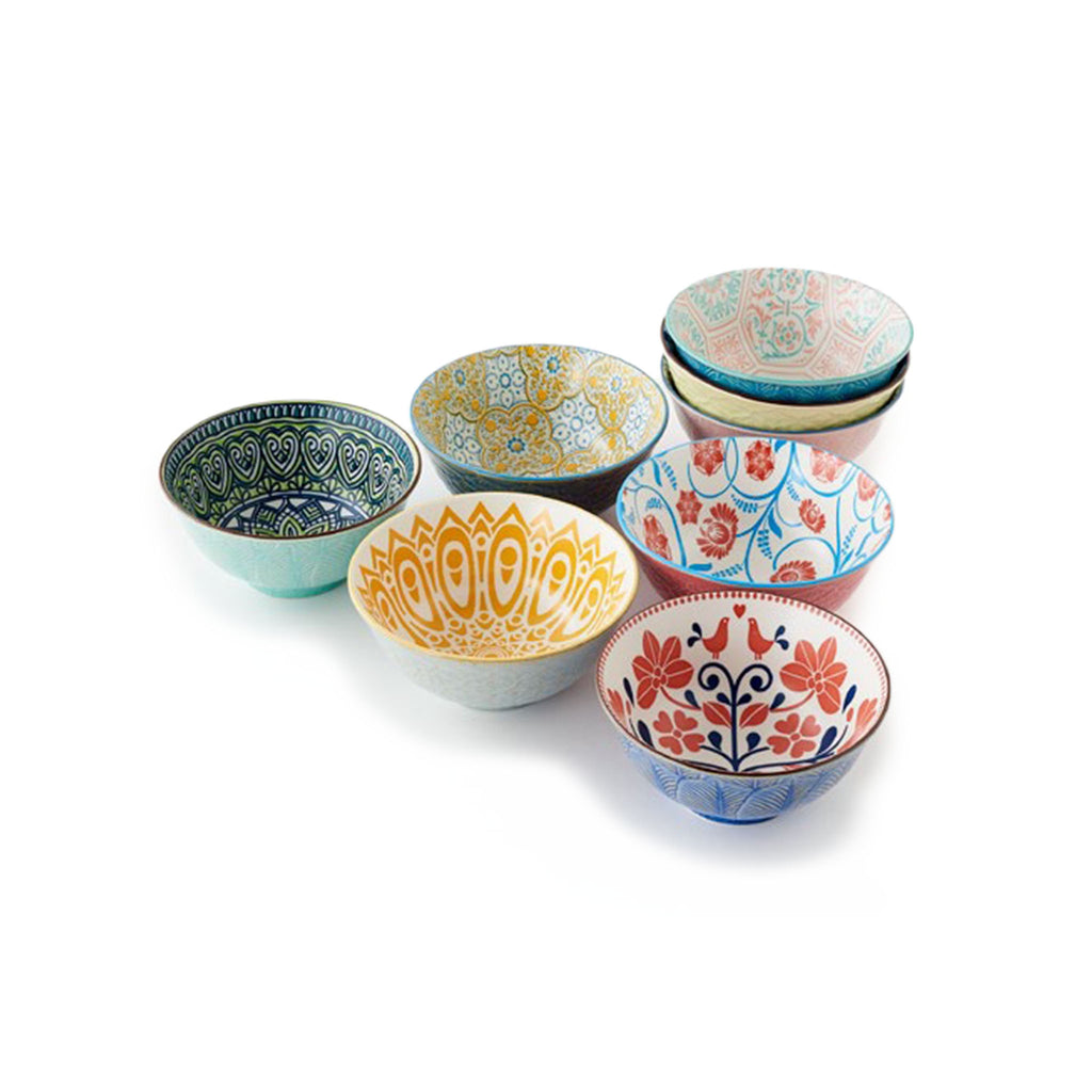Fun Patterned Porcelain Bowls - 6