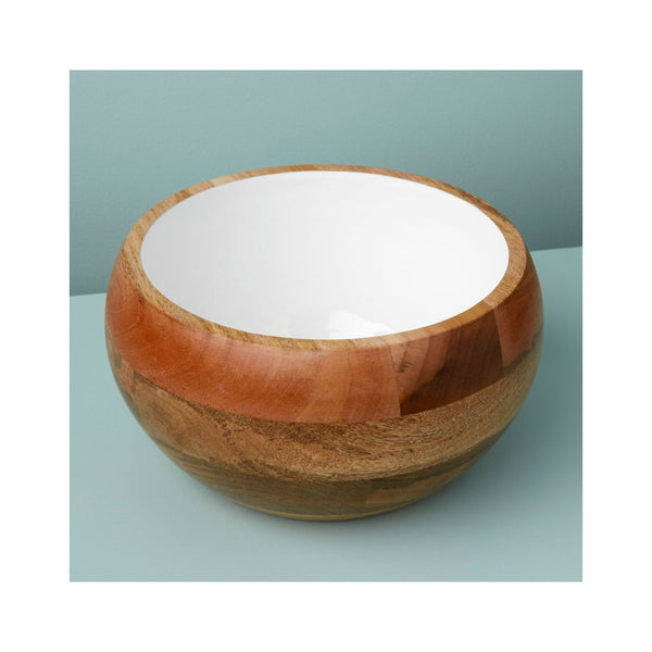 Mango Wood & White Enamel Bowl - Round