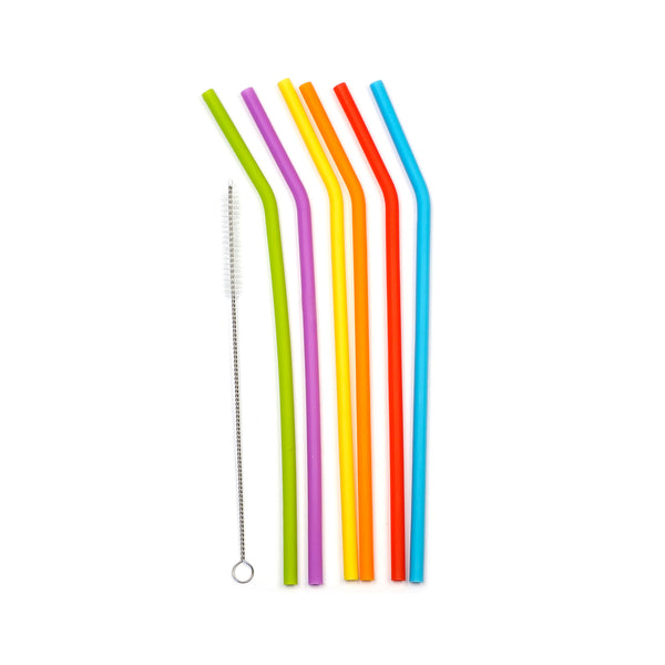 Silicone Drink Straws with Cleaning Brush
