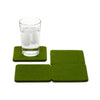 Bierfilzl Wool Felt Coaster Set of 4 - Loden Green in use