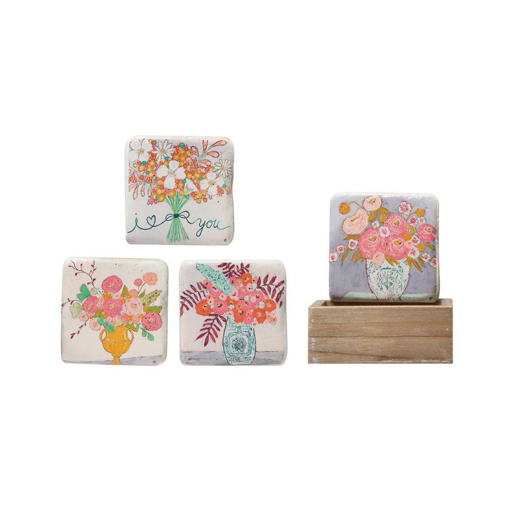 Flower Bouquets Resin Coaster Set