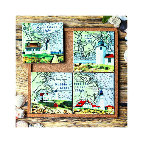 Coaster / Trivet Set - Maine Coast Lighthouses