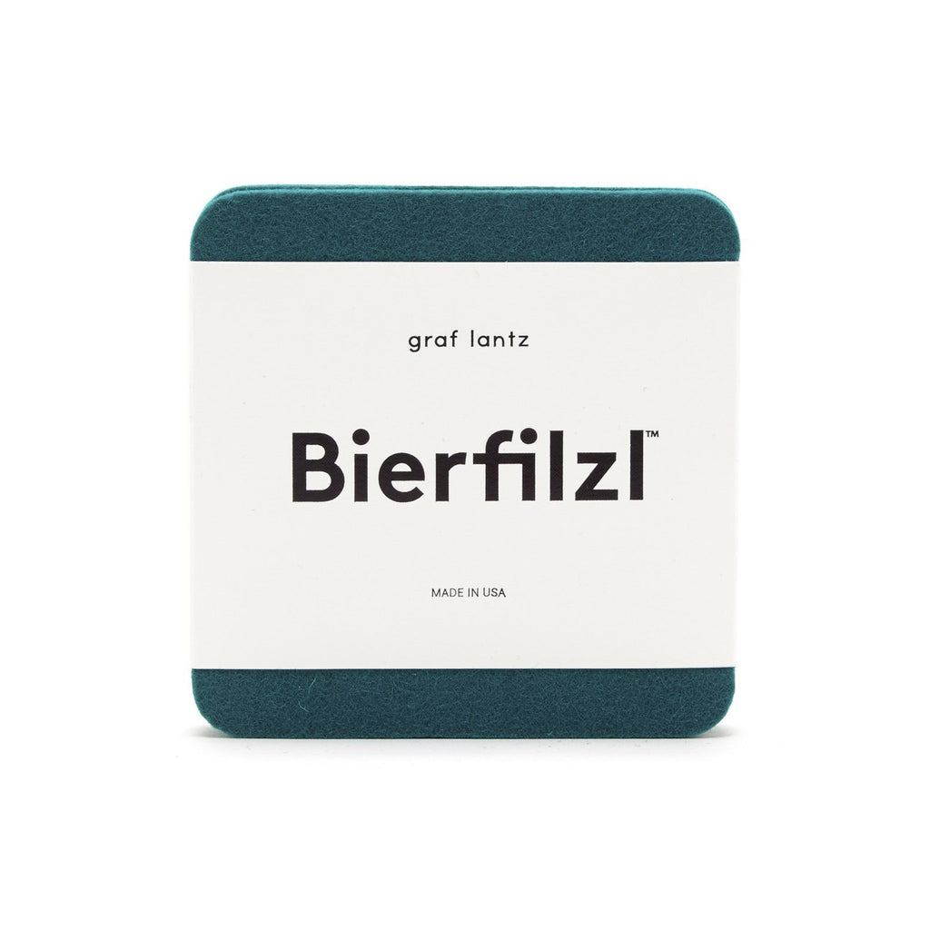 Bierfilzl Wool Felt Coaster Set of 4 - Teal