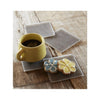 Modern Twist Silicone Coaster Set - Chocolate Linen in Use