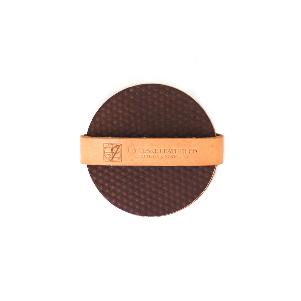 Leather Dotted Coaster Set of 4 - Brown