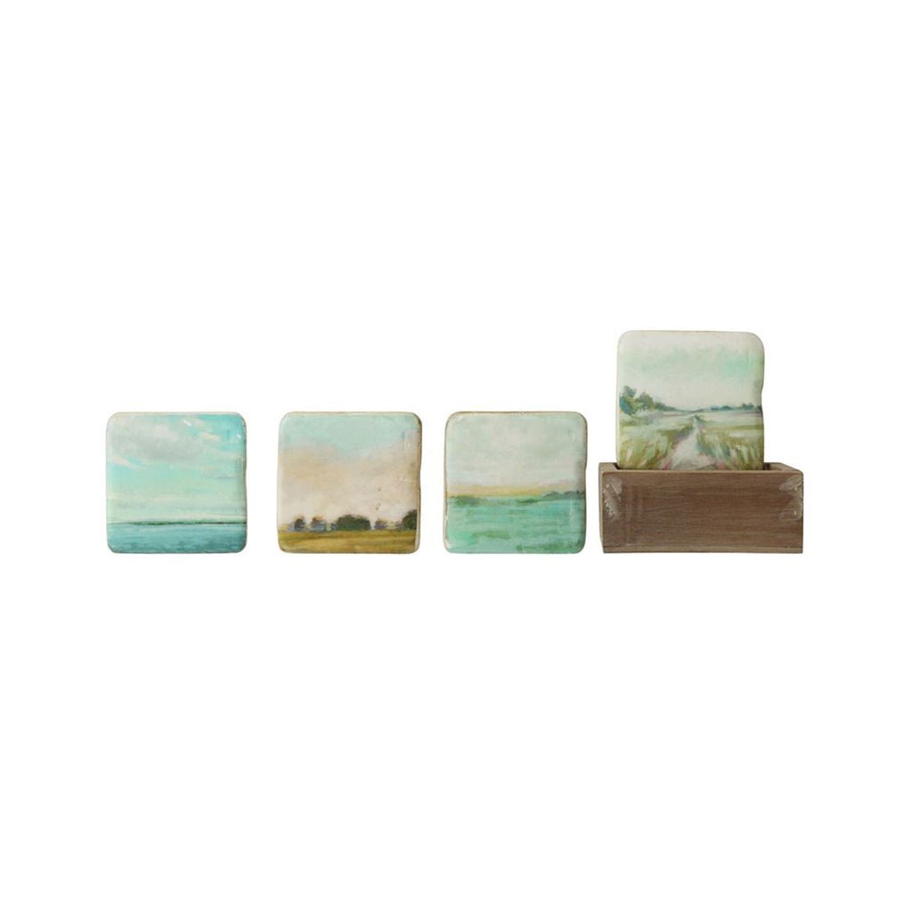 Landscapes Resin Coaster Set