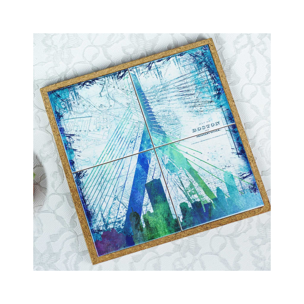 Coaster / Trivet Set - Boston Zakim Bridge Skyline